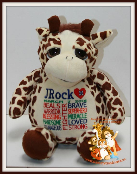 Beals Warrior,  personalized Giraffe Warrior Pet, stuffed animal