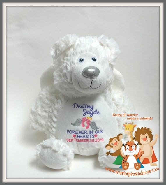 Angel Bear with attached wings , Pets Personalized, Memory Animals, stuffed animal, Bear