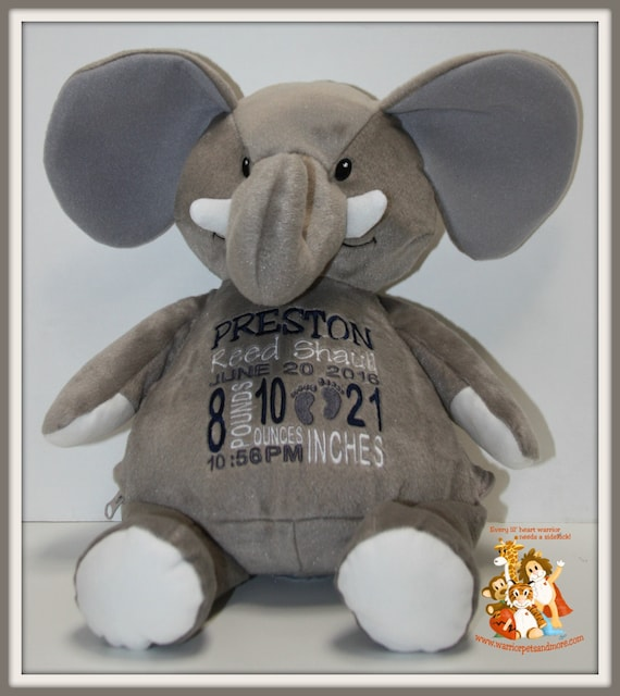 Birth Stat Pets Personalized Elephant, stuffed animal