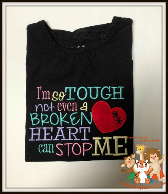 ONLY 1 AVAILABLE - free shipping -  GIRLS  size 6-6x - Black Shirt long sleeves- I'm so tough not even a broken heart can stop me