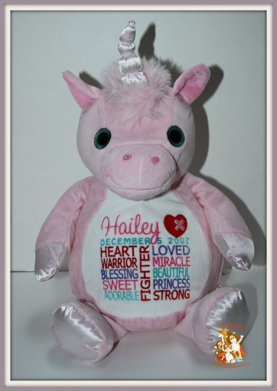 CHD personalized Unicorn,  Warrior Pet, stuffed animal