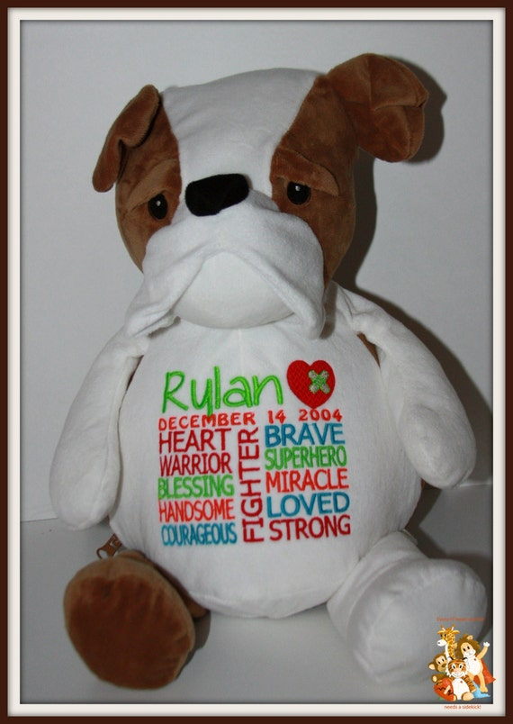 CHD personalized Bulldog Warrior Pet, stuffed animal