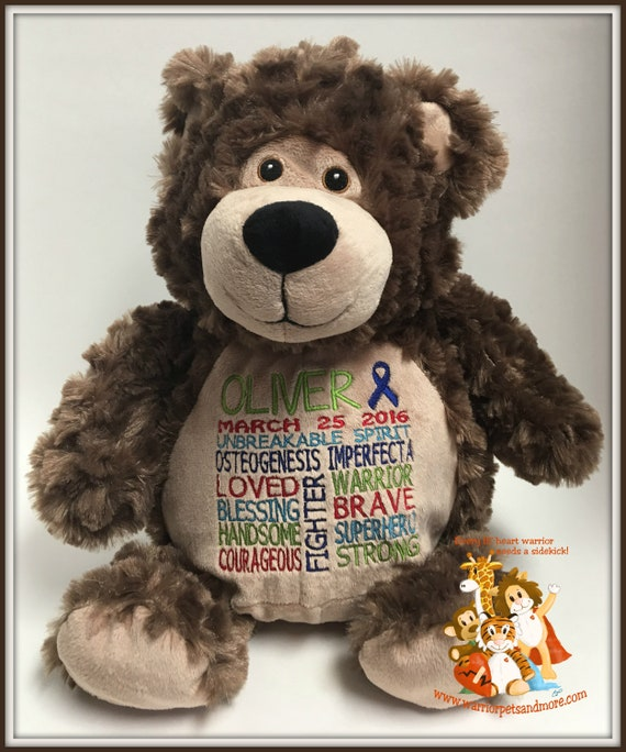 Teddy Bear, Osteogenesis Imperfecta,  personalized Warrior Pet, stuffed animal