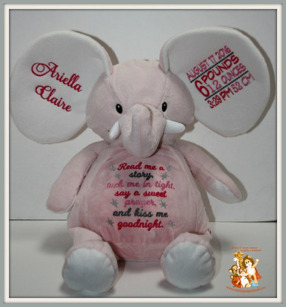 Birth Stat, Read me a story,  personalized, stuffed pink elephant