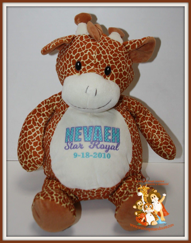Personalized Giraffe Stuffed Animal Name And Date Of Birth