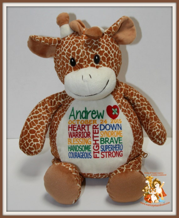 CHD and Down Syndrome combined design personalized  Warrior Pet, stuffed animal