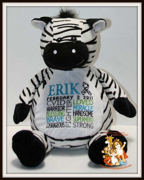 CVID, ZEBRA, Warrior Pet, personalized, stuffed animal