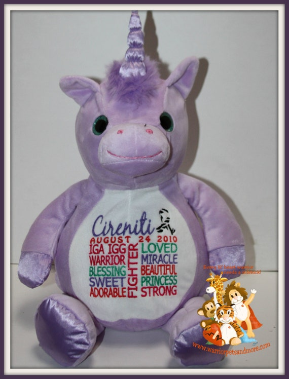 Unicorn IGA IGG,  personalized Unicorn Warrior Pet, stuffed animal