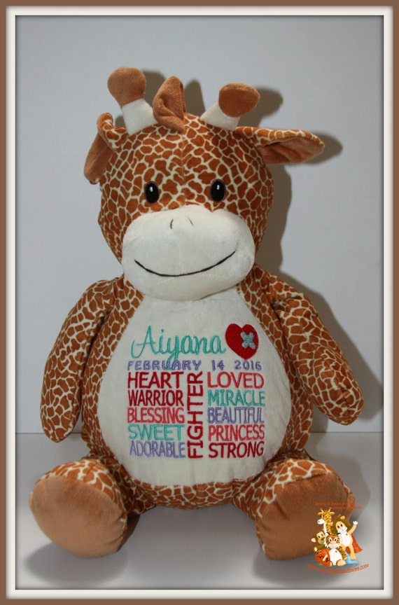 CHD, heart warrior, personalized, Giraffe Warrior Pet, stuffed animal