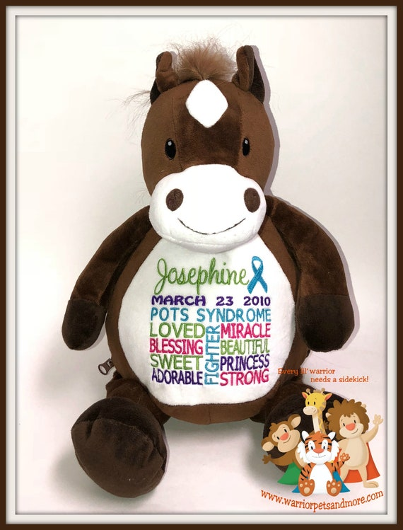 Horse, POTS Syndrome,  personalized  Warrior Pet, stuffed animal