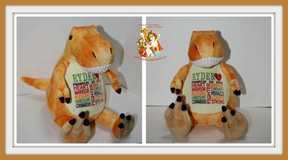 CHD personalized, Dinosaur, Warrior Pet, stuffed animal, Heart Warrior,