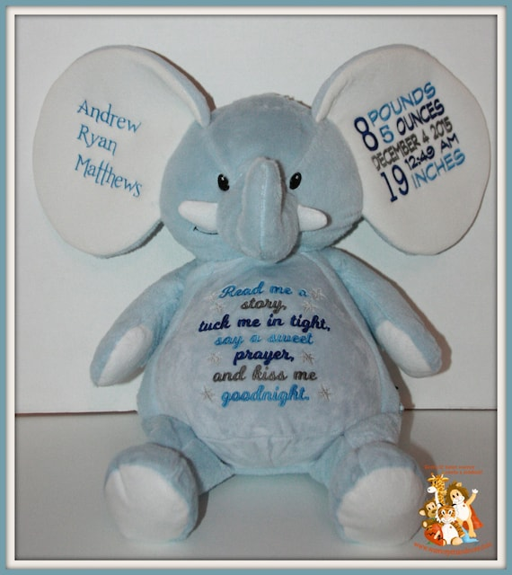 Birth Stat, Read me a story,  personalized, stuffed blue elephant