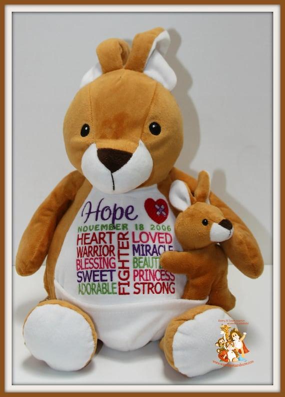 CHD, Kangaroo Warrior Pet, personalized, stuffed animal, warrior pet