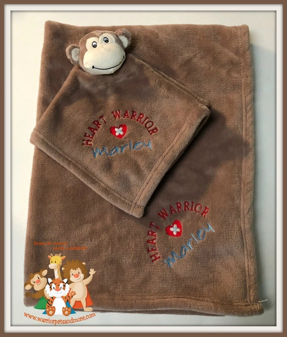 Heart Warrior Blanket Set, Blanket and Blankey Pet, Monkey