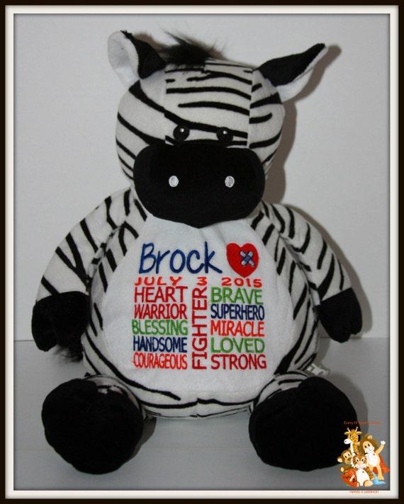 CHD, personalized Zebra, stuffed animal