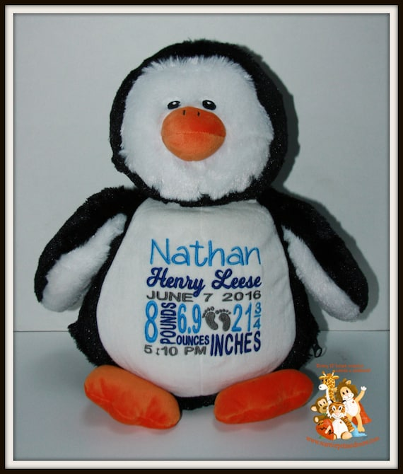 Birth Stat Pets Personalized Stuffed Penguin