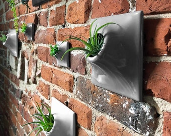 Modern 6 Inch Ceramic Wall Planter - Handmade USA - Indoor - Outdoor - Living wall Art Succulent Airplant Home Office Decor Green Living