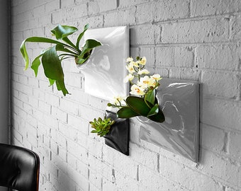 Ceramic Wall Planter Set of 3 - Handmade USA - Indoor - Outdoor - Greenwall Living Wall Art Hanging Planter Orchid Succulent Airplant