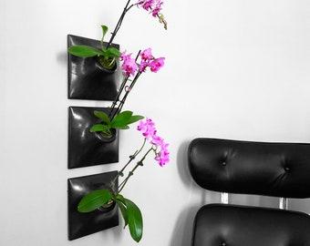 Modern 9 Inch Ceramic Wall Planter - Handmade USA -  Indoor - Outdoor - Greenwall Living Wall Art Orchid Hanging Planter Succulent Wall