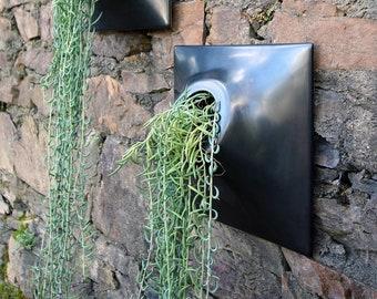 Modern 12 Inch Ceramic Wall Planter - Handmade USA - Indoor - Outdoor - Greenwall Vertitcal Garden Living Wall Art Orchid Succulent Airplant
