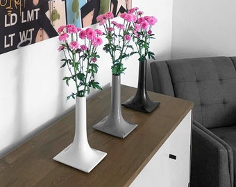 Modern 6 Inch Ceramic Vase - 4 Colors - The Stacks Collection - Handmade USA - Iconic Modern Minimalist Contemporary Mid-Century Tablescape