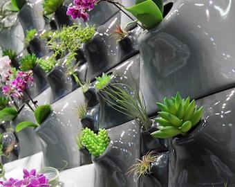 Modern Ceramic Wall Planter Greenwall - Handmade USA - Indoor - Outdoor - Living Wall Art Vertical Garden Green Living Home Office Decor