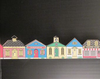 "Village Houses by CHADWICK-MILLER 1987 - Wall Hanging or Door Topper  23"" Long x 4"" Tall"