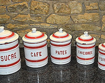 antique enameled graniteware metal canisters red white set of 5