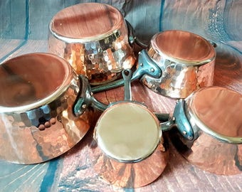 French vintage set of 5 copper pans cuisine professional. made in France