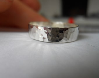 Hammered Wide Band Ring 925 Sterling Silver