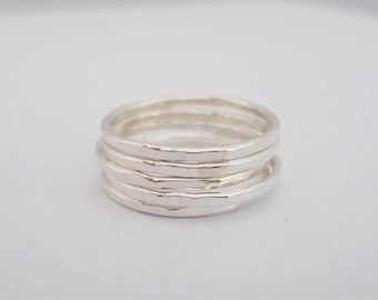 Sterling Silver Set of 5 Thin Hammered Stacking Bands