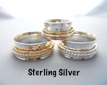 Fidget Spinner Ring - Sterling Silver - Anxiety Ring