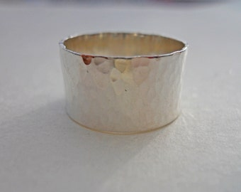 Super Wide 10mm Hammered Band Ring Solid 925 Sterling Silver