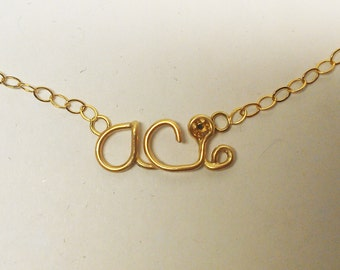 Personalized Name Initial Logo Necklace Pendant Custom
