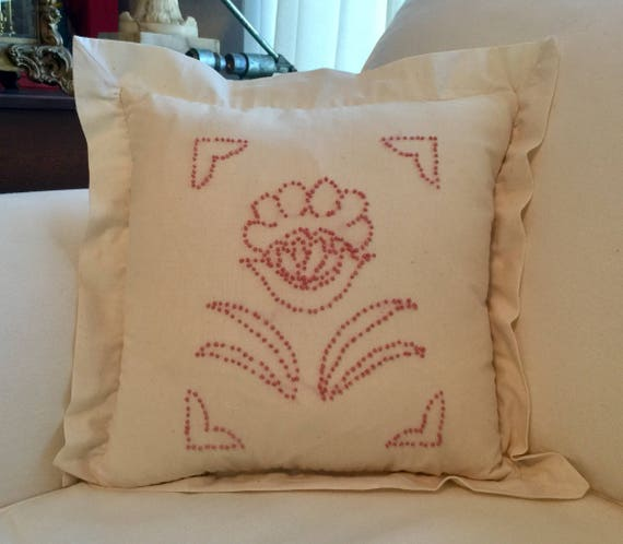 Flowered Pillow Rose Colored Hand Embroidery Of French Knots Make Up This Floral Designed 14x14 On