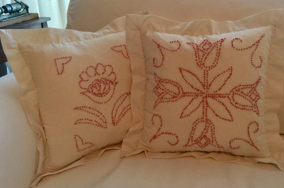 Flowered Pillow Rose Colored Hand Embroidery Of French Knots Etsy