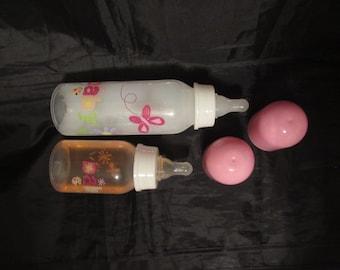 Reborn baby doll 9oz purple flower faux apple juice bottle
