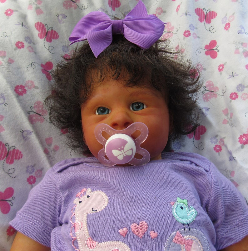 Reborn Newborn Baby Girl Ethnic Biracial Doll Brown Hair Blue Eyes Ready To Ship
