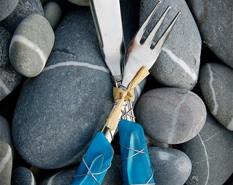 """Sea Glass Appetizer Set made with Recycled Bottle """"Tumbled Island Glass""""  in Aquamarine. Dishwasher Safe Stainless Steel"""