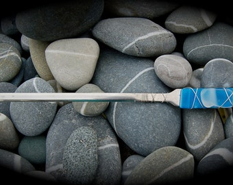 """Sea Glass Letter Opener made with Recycled Bottle """"Tumbled Island Glass""""  in Ocean Blue. Stainless Steel."""