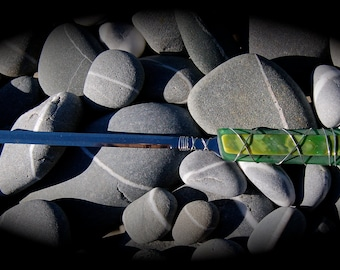 """Sea Glass Letter Opener made with Recycled Bottle """"Tumbled Island Glass""""  in Grass Green. Stainless Steel."""