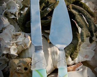 """Sea Glass Wedding Cake Knife & Server made with Recycled Bottle """"Tumbled Island Glass"""" in Teal with Turquoise and Lime Stripes."""