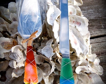 """Sea Glass Wedding Cake Knife & Server made with Recycled Bottle """"Tumbled Island Glass""""  in Rainbow. Dishwasher Safe Stainless"""