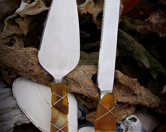 """Sea Glass Wedding Cake Knife & Server made with Recycled Bottle """"Tumbled Island Glass""""  in Amber Tortoise Shell. Dishwasher Safe Stainless"""