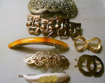 Hair Barrettes ~ Set of 8 Unique and Varied Hair Clip Barrettes