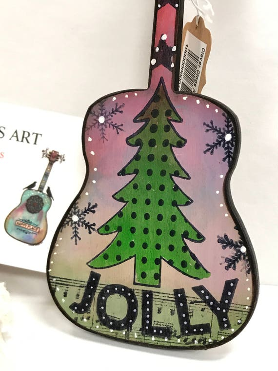 image 0 - Guitar Ornament Christmas Tree Jolly Wood Hand Painted Etsy