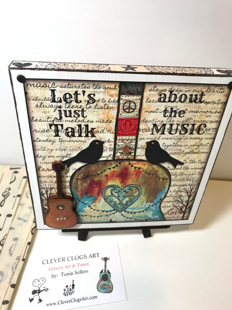 Let's Just Talk About The Music, wood block, guitar art, small talk, chat,  introvert, unique, musician, music teacher, music art, birds