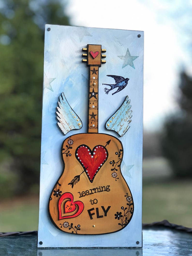 Learning To Fly Guitar Art Tom Petty Music Inspired Valentines Gift Under 50 Angel Wings Blue Sky Sparrow Cupid Arrow Flowers Tp