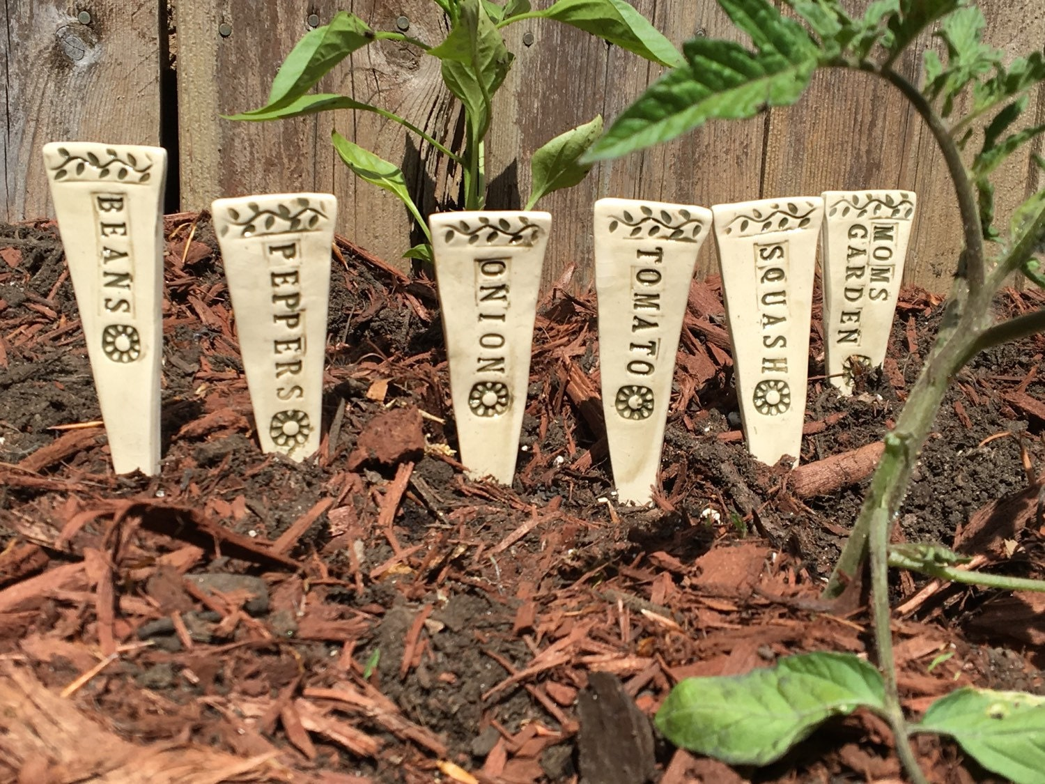 Garden Markers Ceramic Plant Markers for Mom Plant Stakes