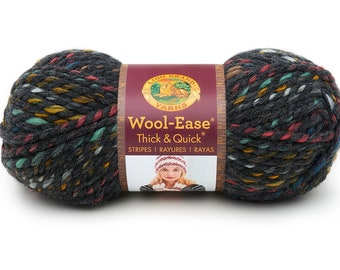 d974bdb617d BEDROCK Chunky Speckled Grey DeStash Yarn - Lion Brand Wool Ease Thick    Quick